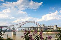 世界最大跨度钢拱桥重庆朝天门长江大桥铺通