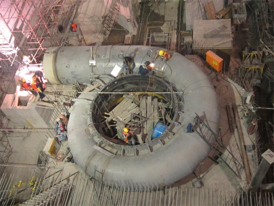 索普拉多拉水电站水轮发电机组3号蜗壳水压试验完成高清图片